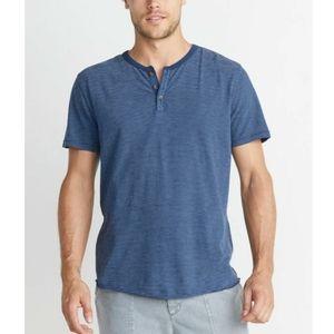 Marine Layer Blue Stripe Henley Short Sleeve Shirt